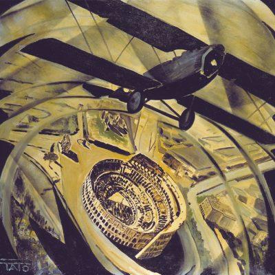 30-Sorvolando in spirale il Colosseo (Spiralata), 1930, olio su tela, cm80x80