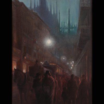 """Carlo Erba """"Corso Vittorio Emanuele"""" -olio su tela-"""