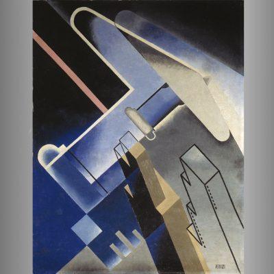 Peruzzi Osvaldo- Volo su grattacieli-1934.olio su cartone-cm65x50