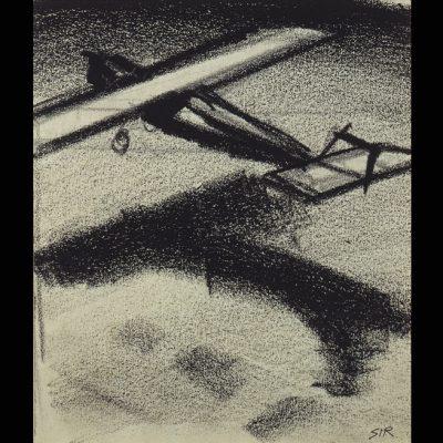 "Sironi Mario ""Aeroplano"" -matita e carboncino su cartoncino-"